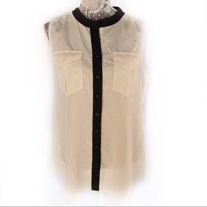J. Crew cream black trim blouse button shirt  14